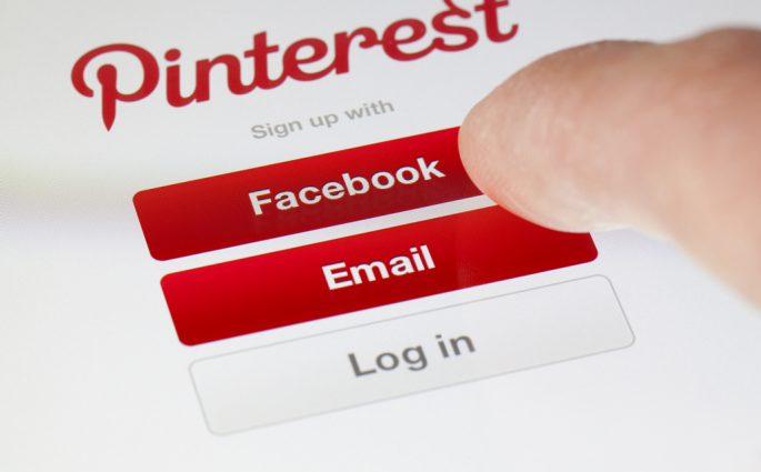 Pinterest login menu