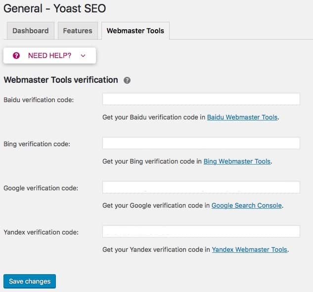 Yoast SEO Webmaste Tools screen